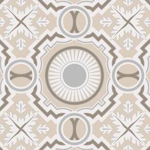 Geometrical Beige Azulejo Tiles. Vector seamless pattern