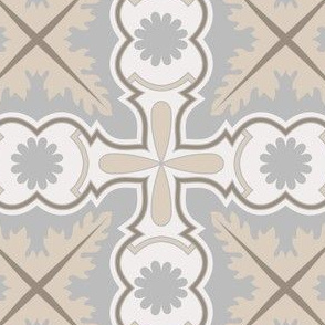 Damask Reversible Azulejo Tiles. Vector seamless pattern