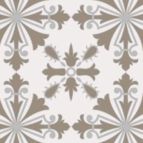 Beige Reversible Azulejo Tiles. Vector seamless pattern