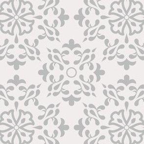 Damask Beige Azulejo Tiles. Vector seamless pattern