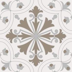 Floral Azulejo Damask. Vector seamless pattern