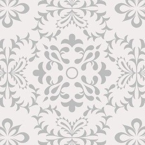 Neutral Colored Azulejo Damask. Vector seamless pattern