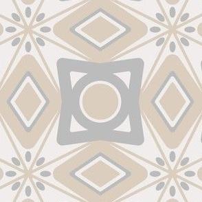 Neutral Geometrical Azulejo Damask. Vector seamless pattern