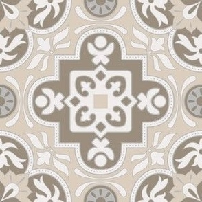 Floral and Geometrical Azulejo Damask. Vector seamless pattern
