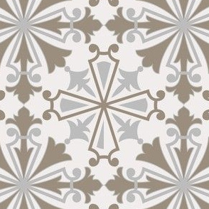 Floral Geometrical Tile Azulejos. Vector seamless pattern