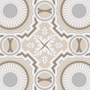 Geometrical and Sunny Azulejo Tiles. Vector seamless pattern