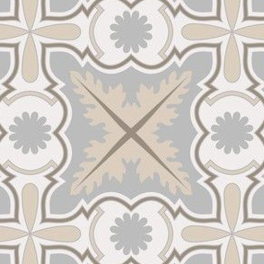 Beige and Grey Floral Azulejo Tile. Minimalistic Vector seamless pattern