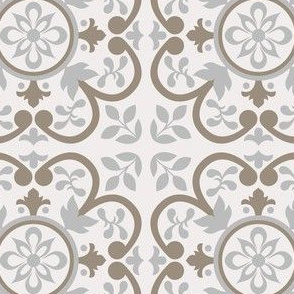 Realistic Grey Floral Azulejo Tile. Minimalistic Vector seamless pattern