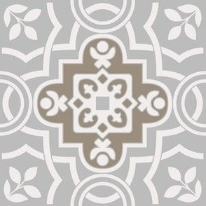 Azulejo Tile with white leaves. Minimalistic Vector seamless pattern