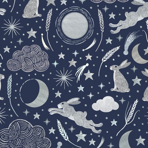 Harvest Moon Hares - Silver on indigo - large scale