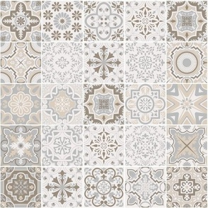 Patchwork-styled Mixed Azulejo Tiles No5. Mediterranean Wallpaper Vector seamless pattern