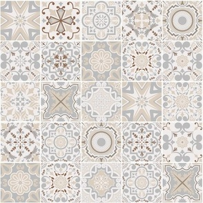 Patchwork-styled Mixed Azulejo No1 Tiles. Mediterranean Wallpaper Vector seamless pattern