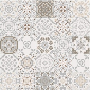 Patchwork-styled Mixed Azulejo Tiles No2. Mediterranean Wallpaper Vector seamless pattern