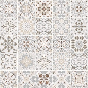 Patchwork-styled Mixed Azulejo Tiles No3. Mediterranean Wallpaper Vector seamless pattern
