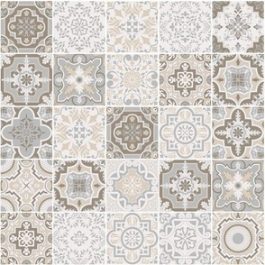 Patchwork-styled Mixed Azulejo Tiles No4. Mediterranean Wallpaper Vector seamless pattern