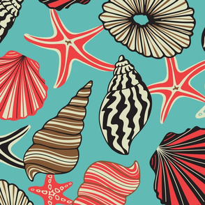 Ocean Jewels Seashell Starfish in Turquoise Red Black Brown White -LARGE Scale - UnBlink Studio by Jackie Tahara