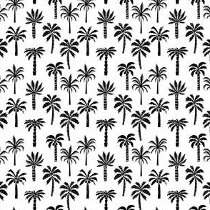 MINI palm tree fabric // tropical summer linocut design by andrea lauren palm prints - black and white