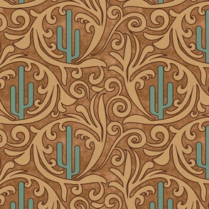 Wild West- Saguaro Tooled Leather Pattern- Verdigris Wheat Brown Leather Texture- Regular Scale