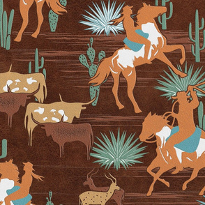 Wild West- Cowgirl Cowboy Herding Cattle in the Desert- Wheat Russet Tangerine Aqua Verdigris on Brown Leather Texture- Large Scale