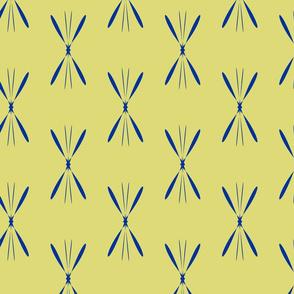 blue on mustard geometrical