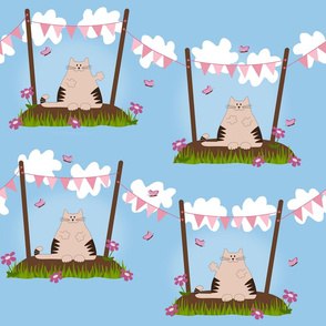 A cute cat under pink party flags and surrounded by flowers and butterflies.
