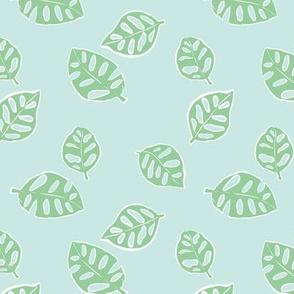 Messy monstera jungle spring summer hand drawn monstera leaf nature print warm blue sage green