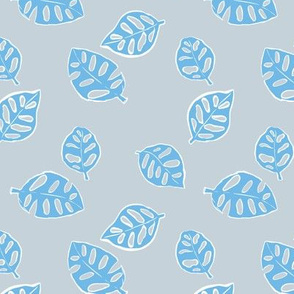 Messy monstera jungle spring summer hand drawn monstera leaf nature print blue gray white LARGE
