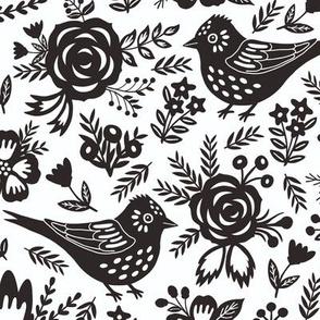 Black birds with summer flowers