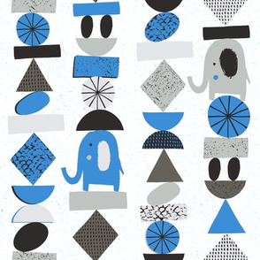 Blue funny elephants