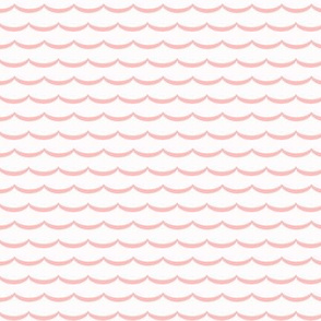 pink and white scallop, waves. pink and pure white scalloped pattern on fabric, wallpaper and decor.