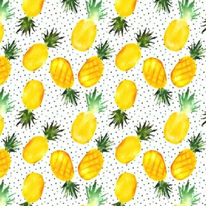 pineapples with dots - smaller scale watercolor tropical summer fruits