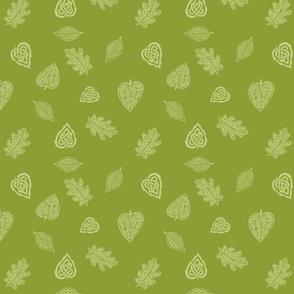 Celtic Leaves on olive green