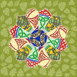 Celtic Quilt Block 12 Point Star on Celtic Leafy Green