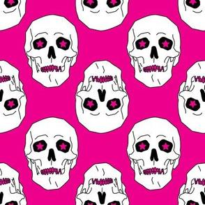 Punk skulls Magenta and White Medium scale Non directional