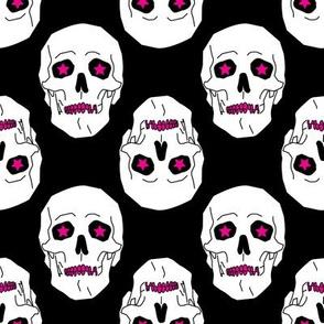 Punk skulls Black, Magenta and White Medium scale Non directional