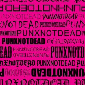 Punx not dead Lettering Black and Magenta Medium scale Non directional