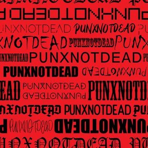 Punx not dead Lettering Black and Red Medium scale Non directional