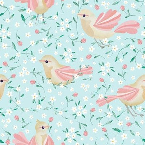 Cute Birds and Daisies //Birds , Daisies, and Leaves // Light Blue Color by Angelica Venegas