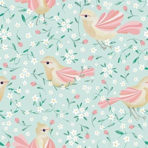 Cute Birds and Daisies //Birds , Daisies, and Leaves // Green Color by Angelica Venegas