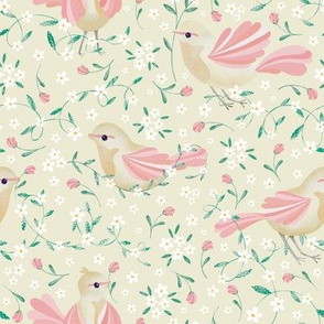 Cute Birds and Daisies //Birds , Daisies, and Leaves // Light Cream Color by Angelica Venegas