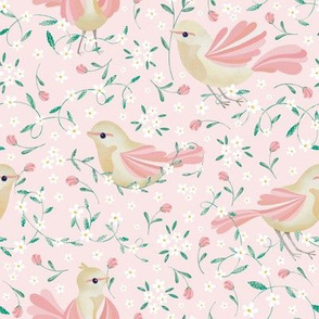 Cute Birds and Daisies //Birds , Daisies, and Leaves // Pink Color by Angelica Venegas
