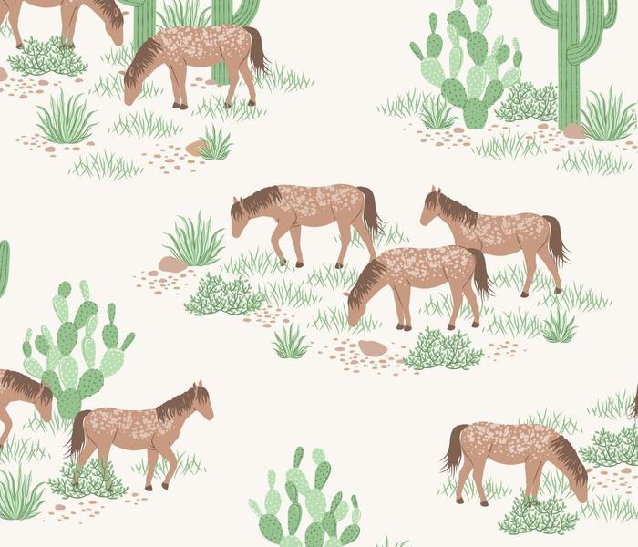 Desert Wild Horses - off white ivory cream 1