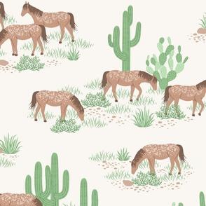 Desert Wild Horses - off white ivory cream - large scale