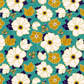 Leura Flowers Gold and Turquoise