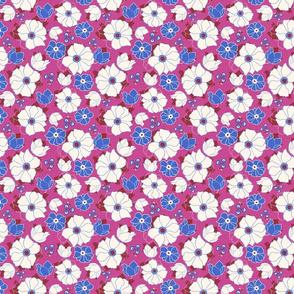 Leura Flowers Magenta Bright Blue
