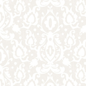 Beige and White Casbah Damask