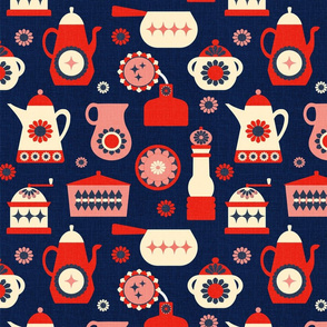 Kitchen Retro Red and Blue