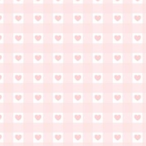 Blush Pink Gingham with Hearts