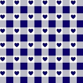Navy Gingham with Hearts