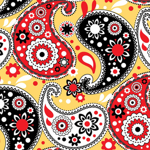 Red Gold and Black Paisley Print